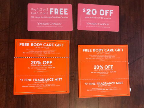 TWOBath And Body Works Coupons 20 Off Entire Purchase Candle Mist Exp. 5/9/21 - $28.72