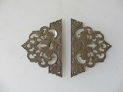 Vintage Brass Escutcheon Keyhole Plates AntIque Old Cabinet Hardware Etched