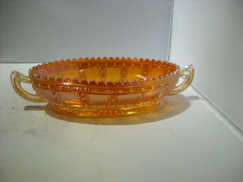Imperial Rubigold/Marigold Carnival Glass Blocked Pickle Bowl