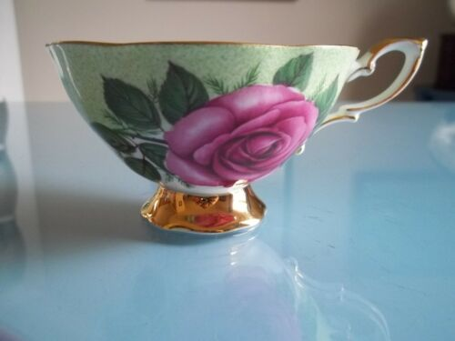 Vtg Royal Standard Large PINK CABBAGE ROSE On GREEN (Cup Only)