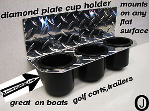 POLARIS-ranger-3-Cup-Drink-Holder-Diamond-plate-fits-boats-golf-carts-truck