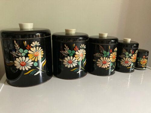 5pcs 1952  RANSBURG Black Floral Handpainted Metal Vtg Stacking Canisters Set
