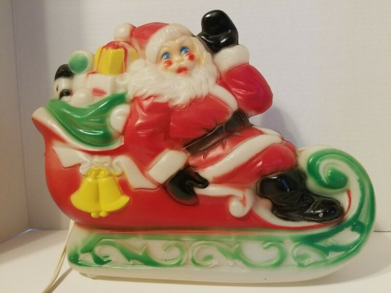 """Vintage Empire Blow Mold Santa and Sleigh w/gifts 1970 10"""" Tall"""