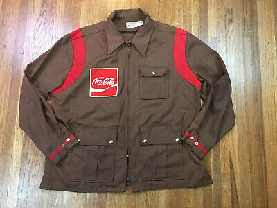 Vintage Coca Cola Mens Uniform Jacket Sz XL Embroidered Patch Logo Wrk 60s 70s