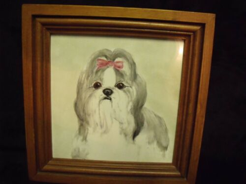 """HAND PAINTED LHASO APSO DOG ON 6"""" TILE SET IN WOOD FRAME, SIGNED ANITA"""