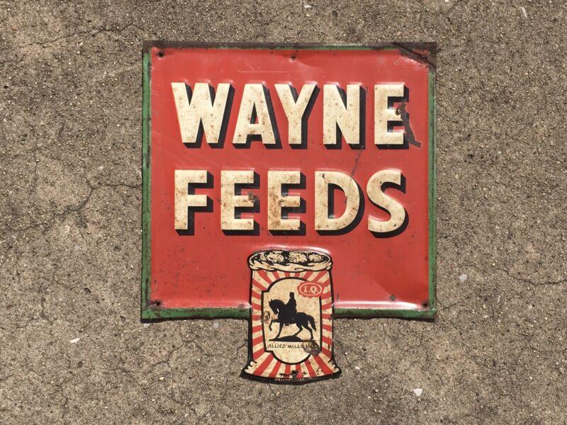 Rare Vintage Wayne Feeds Embossed Metal Advertising Sign ~ Agricultural Farming