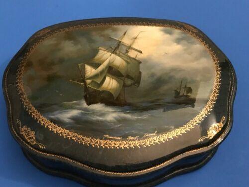 Russian Laquer Box Sailing Ship Signed