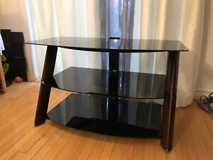 TV Stand with Glass and Wooden Accents