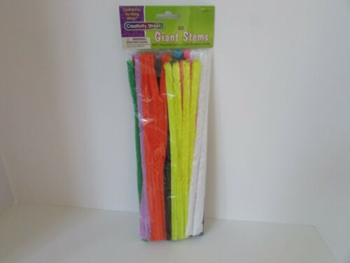 """CREATIVITY STREET GIANT STEMS PIPE CLEANERS 50 PC 12MM ASST COLORS 12""""L NEW  L24"""