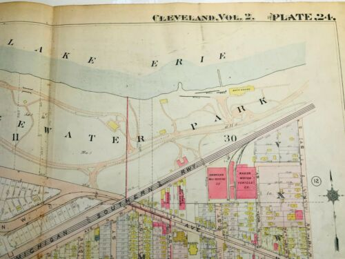 Cleveland West Side 1912 Map Edgewater Park, Clifton, Lake,  Detroit, Franklin