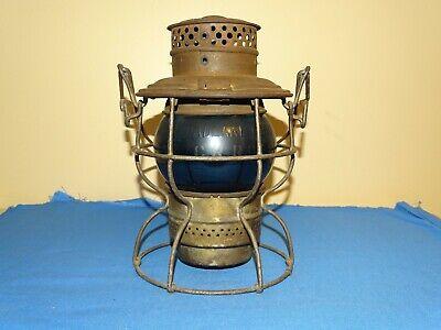 Railroad Railway Lantern, ADAMS WESTLAKE w/ Adlake Kero Blue Globe CRR of NJ (N)