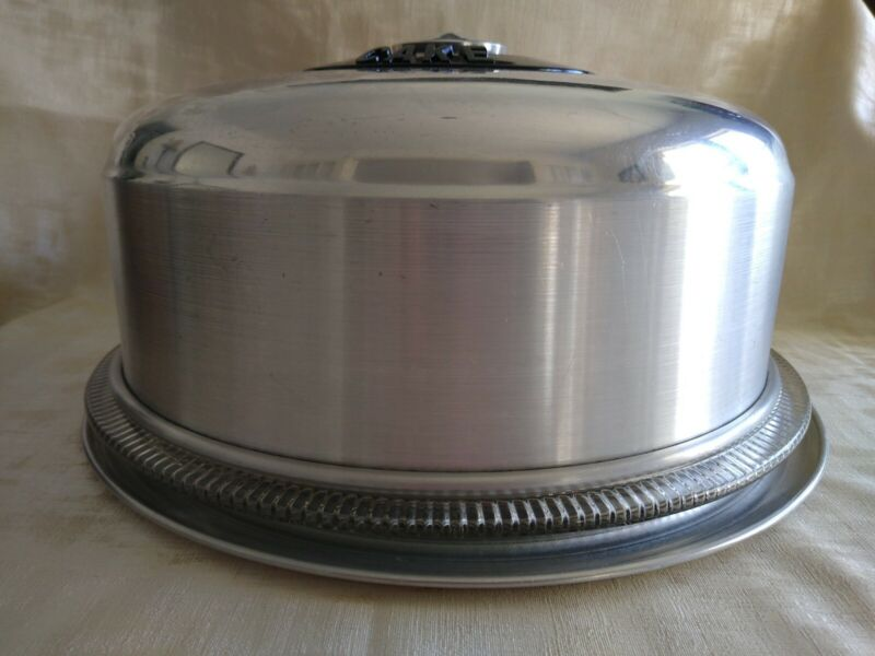 Vintage KROMEX 3 Piece Aluminum Cake Cover with Bottom Plate and Glass Plate