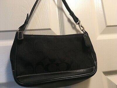 COACH Black Leather Cosmetic Case Pouch Zip Canvas Signature Bag wristlet wallet