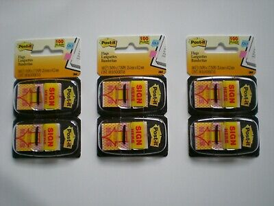 3 Packs Post-it Arrow Message 1 Page Flags Sign Here Yellow 2-50 Dispensers