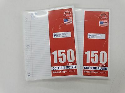 Norcom 150 Sheets College Ruled Notebook Paper 10 12 X 8 New Lot Of 2