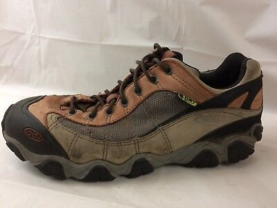 Oboz Mens 11.5 M Hiking Trail Shoe Sport Sneaker Orange Brown Leather Waterproof for sale  Shipping to Canada