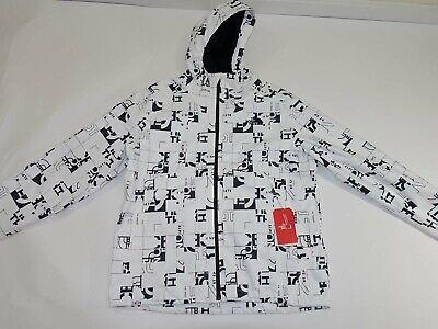 The North Face Men's Millerton Rain Jacket XXL NWT White Black Hooded Coat 2XL