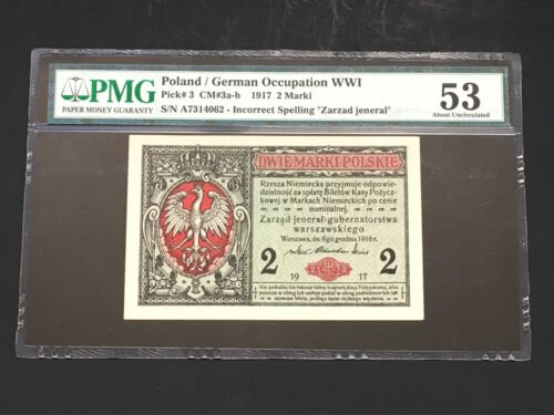 POLAND - GERMAN OCCUPATION WWI -1917  2 MARKI - INCORRECT SPELLING -PMG 53 AUNC