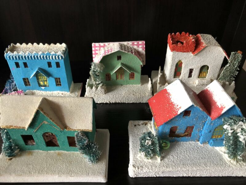 Vintage Putz Houses-Lot of Five (Free Shipping!)