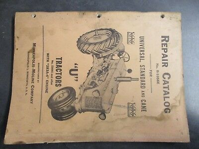Minneapolis Moline U Tractor Repair Catalog
