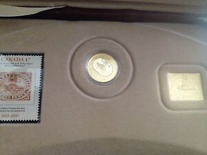 3 cent coin/stamp/leaf collection mint