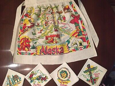 Vintage 50's Linen Alaska Half Apron Plus 4 Napkins Colorful, Great Graphics Map