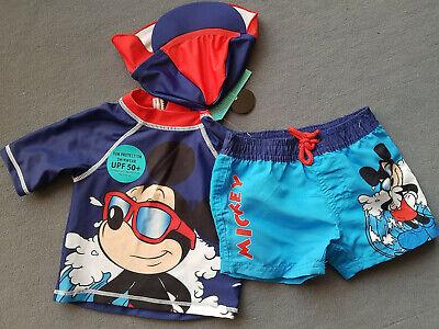 3teilig UV-Schutz 50+ Disney Mickey Mouse Schwimmanzug Jungen Hut 68 74 80