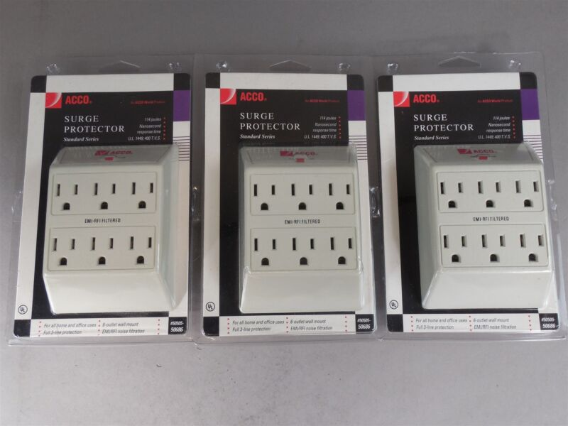 Lot of 3 ACCO 50505-50686 Surge Protector 6-Outlet Wall Mount 3-Line Protection