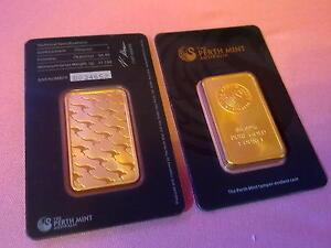10 x Gold Barren The Perth Mint Australia 1 oz Unze 99,99 % , plated