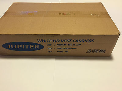 JUPITER White HD Vest Plastic Carrier Bags  Medium 10