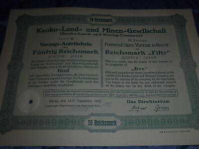 912 : dt. Aktie / Wertpapier , Kaoko-Land - u. Minen , September 1925 ,Nr. 50644