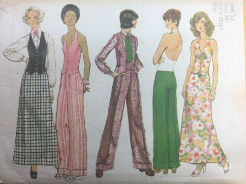 Vintage 1970s Pattern HALTER VEST Maxi Skirt Wide Leg Pant Simplicity 5409 Sz 12