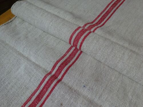 Antique European Feed Sack GRAIN SACK Red Stripes # 9468