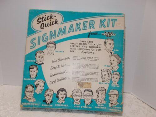 STICK QUICK SIGN MAKER KIT Vintage Webway LETTERS NUMBERS