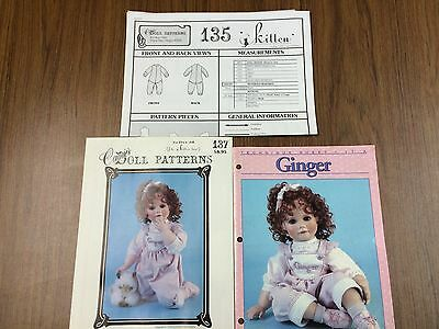 Set of three patterns for Ginger porcelain doll making for body, tech, clothes