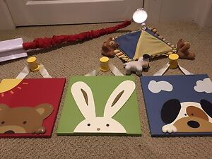 Nursery wooden pictures and mobile