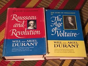 Rousseau and Voltaire hardcover books