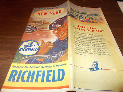 1940s Richfield New York Vintage Road Map / Nice Gas Station Cover Art
