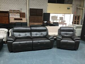 LEATHER - ELECTRICRIC RECLINER 3 SEATER + ARMCHAIR Leumeah Campbelltown Area Preview