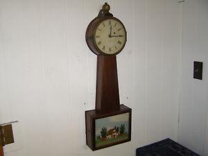 Simon Willard & Son Boston Banjo Clock with weight driven 8 day movement runs