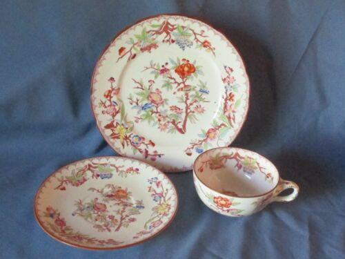 Antique SARREGUEMINES France Minton Floral Teacup Saucer & Plate Set 1860-1910