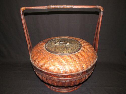 Chinese Woven Bamboo Wedding Basket Greek Key Design Floral Brass Plate Handle