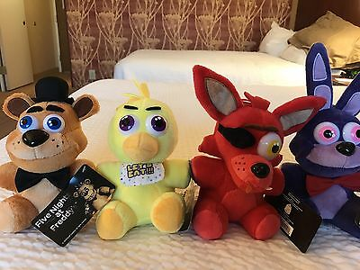 Rare  Set Of 4 Plush Five Nights At Freddys Fnaf Freddy Foxy Chica Bonnie Toy