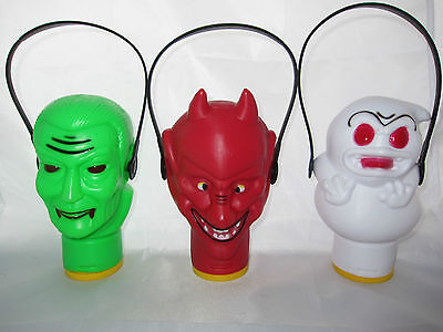 3 Vintage Halloween Spooky Toy Lanterns Lights Devil Ghost Horror Creepy Scary