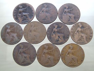 1902 - 1910 Ten ANTIQUE Edward VII Shove Halfpenny Coins - Free Postage (A32)
