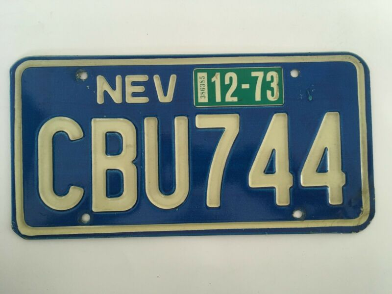 1973 Nevada License Plate Natural Sticker Classic Blue VERY NICE