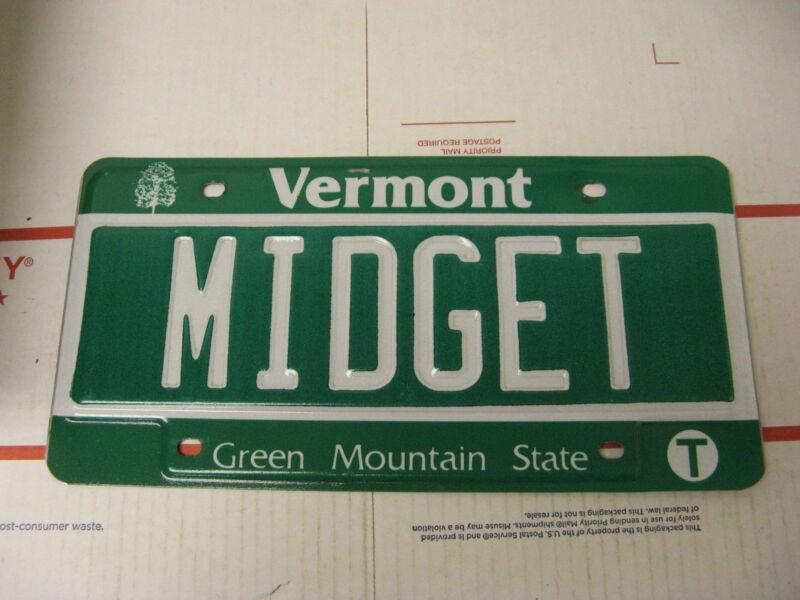 Vermont VT License Plate Vanity MIDGET Green Mountain State