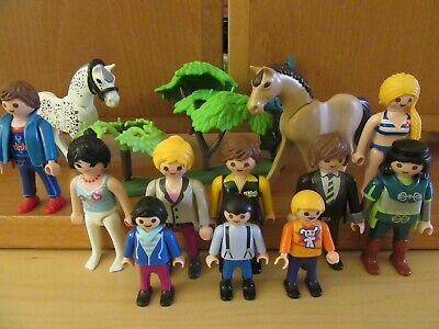 Playmobil bundle 10 people figures, 2 horses and some mixed trees