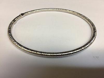 14Kt White Gold Stackable Slip-on Hammered Textured Bangle/Bracelet 8