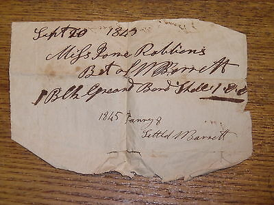 Antique 1843 Bill Note - Miss Jane Robbins Owed William Barrett Cornwall England